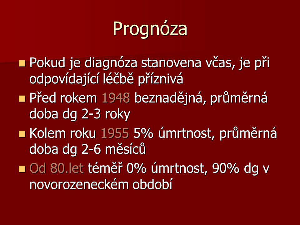 Prognóza  Pokud je diagnóza stanovena včas, je při odpovídající léčbě příznivá  Před rokem 1948 beznadějná, průměrná doba dg 2-3 roky  Kolem roku 1