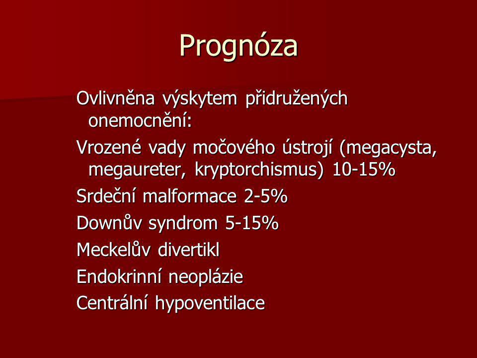Prognóza Ovlivněna výskytem přidružených onemocnění: Vrozené vady močového ústrojí (megacysta, megaureter, kryptorchismus) 10-15% Srdeční malformace 2