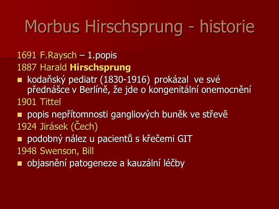 Morbus Hirschsprung - historie 1691 F.Raysch – 1.popis 1887 Harald Hirschsprung  kodaňský pediatr (1830-1916) prokázal ve své přednášce v Berlíně, že