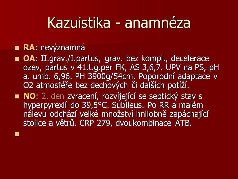 Kazuistika - anamnéza  RA: nevýznamná  OA: II.grav./I.partus, grav. bez kompl., decelerace ozev, partus v 41.t.g.per FK, AS 3,6,7. UPV na PS, pH a.
