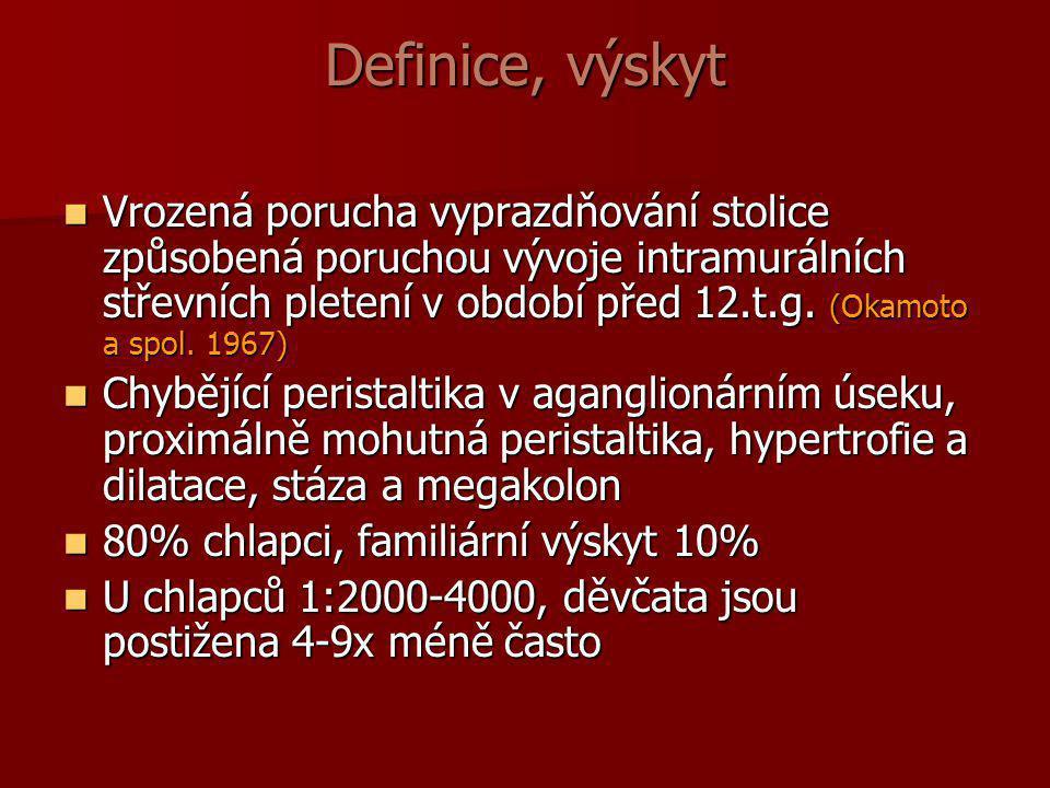 Definice, výskyt  Vrozená porucha vyprazdňování stolice způsobená poruchou vývoje intramurálních střevních pletení v období před 12.t.g. (Okamoto a s