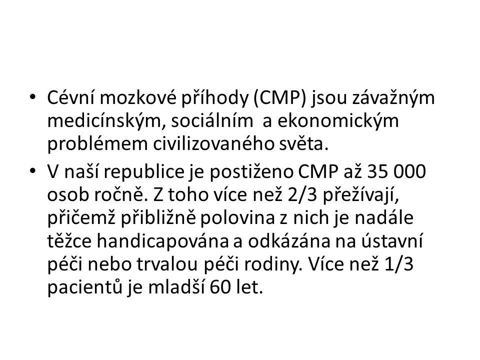 • Cévní mozkové příhody (CMP) jsou závažným medicínským, sociálním a ekonomickým problémem civilizovaného světa. • V naší republice je postiženo CMP a