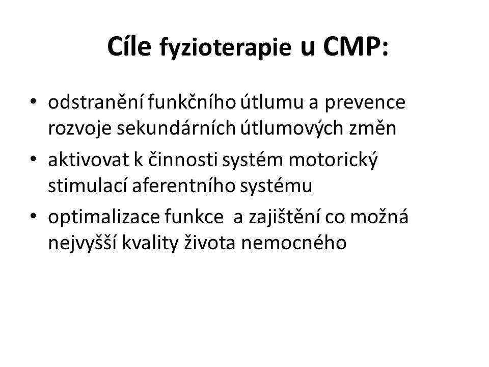 Cíle fyzioterapie u CMP: • odstranění funkčního útlumu a prevence rozvoje sekundárních útlumových změn • aktivovat k činnosti systém motorický stimula