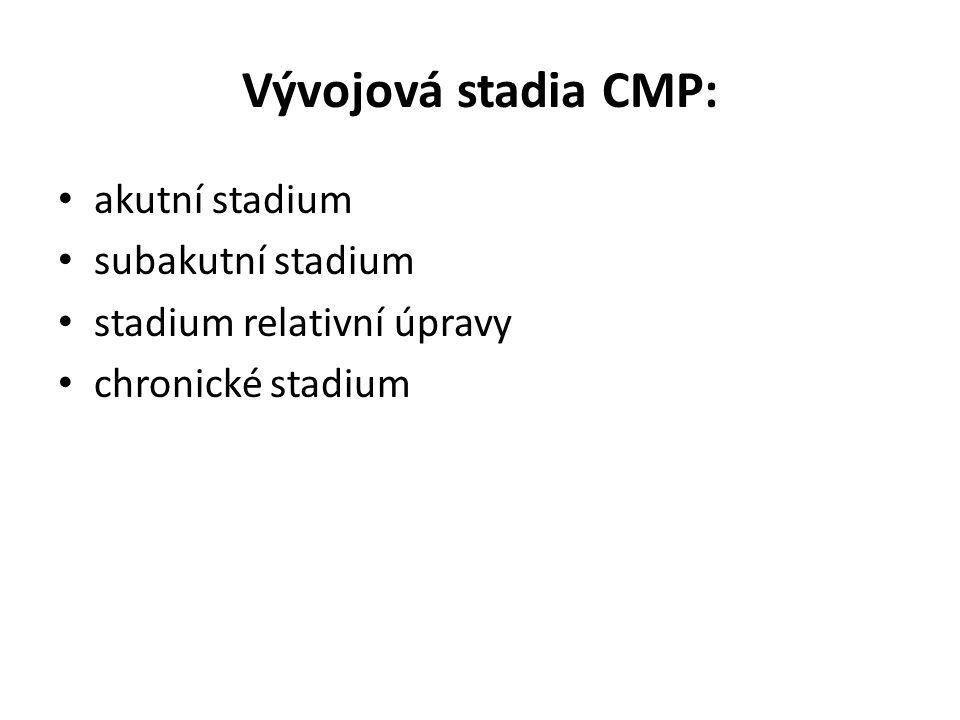 Vývojová stadia CMP: • akutní stadium • subakutní stadium • stadium relativní úpravy • chronické stadium