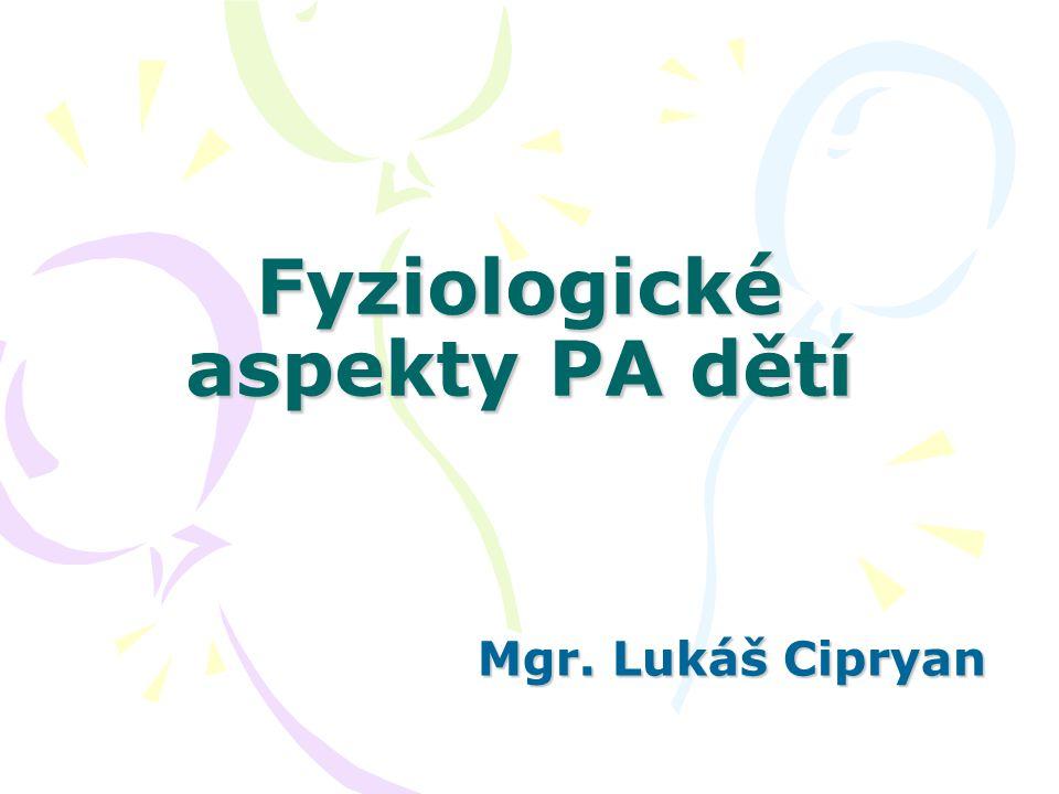 Fyziologické aspekty PA dětí Mgr. Lukáš Cipryan Mgr. Lukáš Cipryan