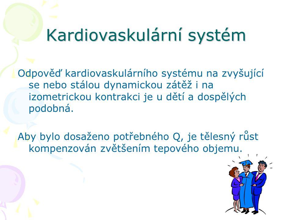 Kardiovaskulární systém Odpověď kardiovaskulárního systému na zvyšující se nebo stálou dynamickou zátěž i na izometrickou kontrakci je u dětí a dospělých podobná.