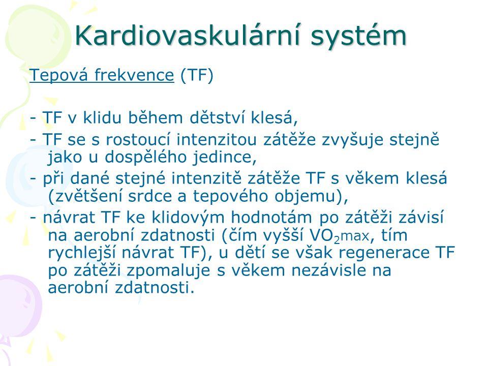 Kardiovaskulární systém Tepová frekvence (TF) - TF v klidu během dětství klesá, - TF se s rostoucí intenzitou zátěže zvyšuje stejně jako u dospělého jedince, - při dané stejné intenzitě zátěže TF s věkem klesá (zvětšení srdce a tepového objemu), - návrat TF ke klidovým hodnotám po zátěži závisí na aerobní zdatnosti (čím vyšší VO 2 max, tím rychlejší návrat TF), u dětí se však regenerace TF po zátěži zpomaluje s věkem nezávisle na aerobní zdatnosti.