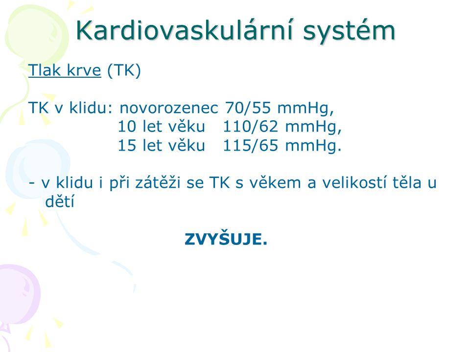 Kardiovaskulární systém Tlak krve (TK) TK v klidu: novorozenec 70/55 mmHg, 10 let věku 110/62 mmHg, 15 let věku 115/65 mmHg.