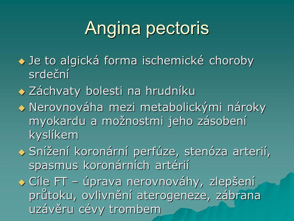 Angina pectoris  Je to algická forma ischemické choroby srdeční  Záchvaty bolesti na hrudníku  Nerovnováha mezi metabolickými nároky myokardu a mož