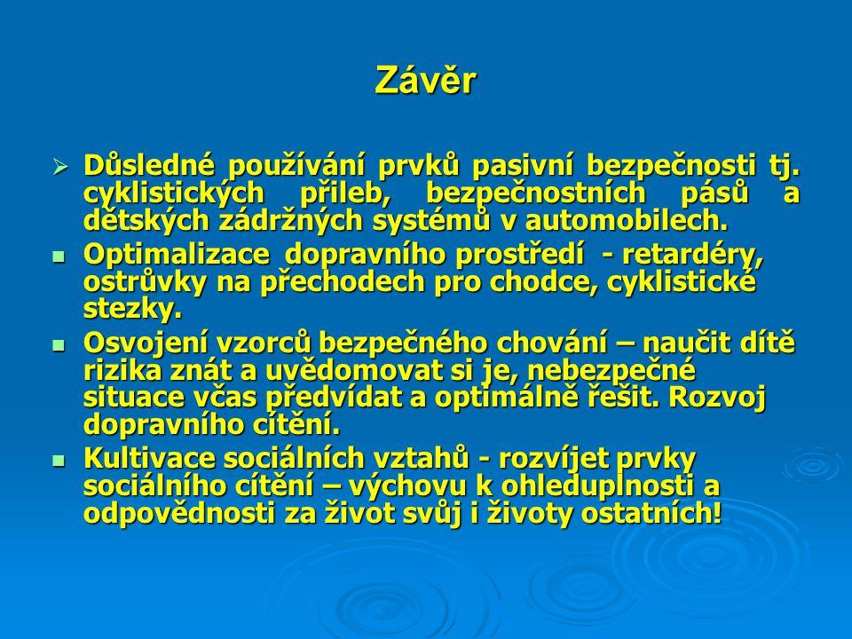 Závěr  Důsledné používání prvků pasivní bezpečnosti tj. cyklistických přileb, bezpečnostních pásů a dětských zádržných systémů v automobilech.  Opti
