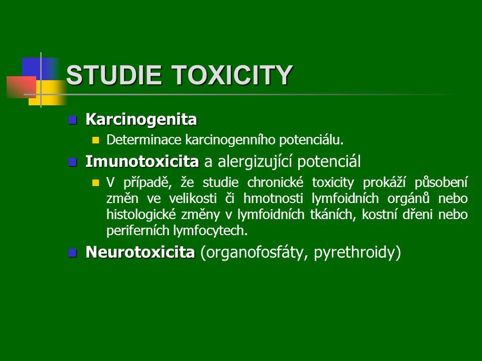  Karcinogenita  Determinace karcinogenního potenciálu.  Imunotoxicita  Imunotoxicita a alergizující potenciál  V případě, že studie chronické tox