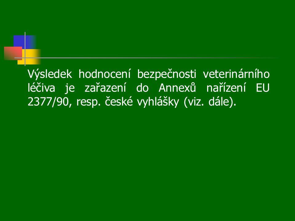 Výsledek hodnocení bezpečnosti veterinárního léčiva je zařazení do Annexů nařízení EU 2377/90, resp. české vyhlášky (viz. dále).
