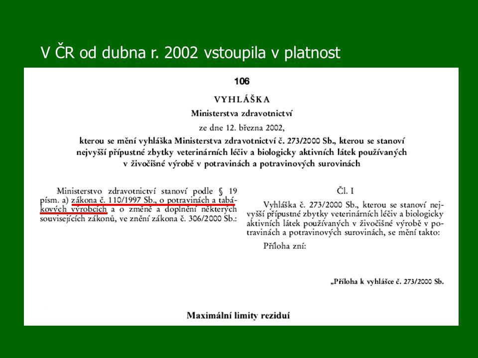 V ČR od dubna r. 2002 vstoupila v platnost