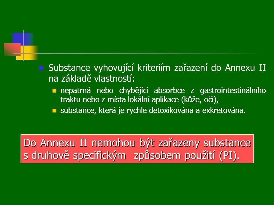  Substance vyhovující kriteriím zařazení do Annexu II na základě vlastností:  nepatrná nebo chybějící absorbce z gastrointestinálního traktu nebo z místa lokální aplikace (kůže, oči),  substance, která je rychle detoxikována a exkretována.