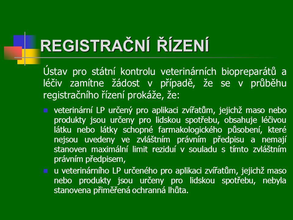 REGISTRAČNÍ ŘÍZENÍ  veterinární LP určený pro aplikaci zvířatům, jejichž maso nebo produkty jsou určeny pro lidskou spotřebu, obsahuje léčivou látku nebo látky schopné farmakologického působení, které nejsou uvedeny ve zvláštním právním předpisu a nemají stanoven maximální limit reziduí v souladu s tímto zvláštním právním předpisem,  u veterinárního LP určeného pro aplikaci zvířatům, jejichž maso nebo produkty jsou určeny pro lidskou spotřebu, nebyla stanovena přiměřená ochranná lhůta.