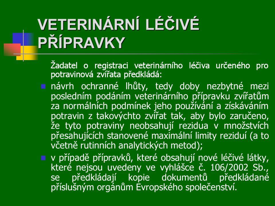 VETERINÁRNÍ LÉČIVÉ PŘÍPRAVKY Žadatel o registraci veterinárního léčiva určeného pro potravinová zvířata předkládá:  návrh ochranné lhůty, tedy doby nezbytné mezi posledním podáním veterinárního přípravku zvířatům za normálních podmínek jeho používání a získáváním potravin z takovýchto zvířat tak, aby bylo zaručeno, že tyto potraviny neobsahují rezidua v množstvích přesahujících stanovené maximální limity reziduí (a to včetně rutinních analytických metod);  v případě přípravků, které obsahují nové léčivé látky, které nejsou uvedeny ve vyhlášce č.