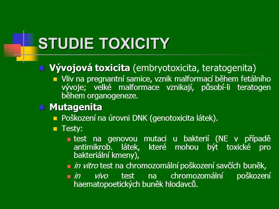  Vývojová toxicita  Vývojová toxicita (embryotoxicita, teratogenita)  Vliv na pregnantní samice, vznik malformací během fetálního vývoje; velké malformace vznikají, působí-li teratogen během organogeneze.