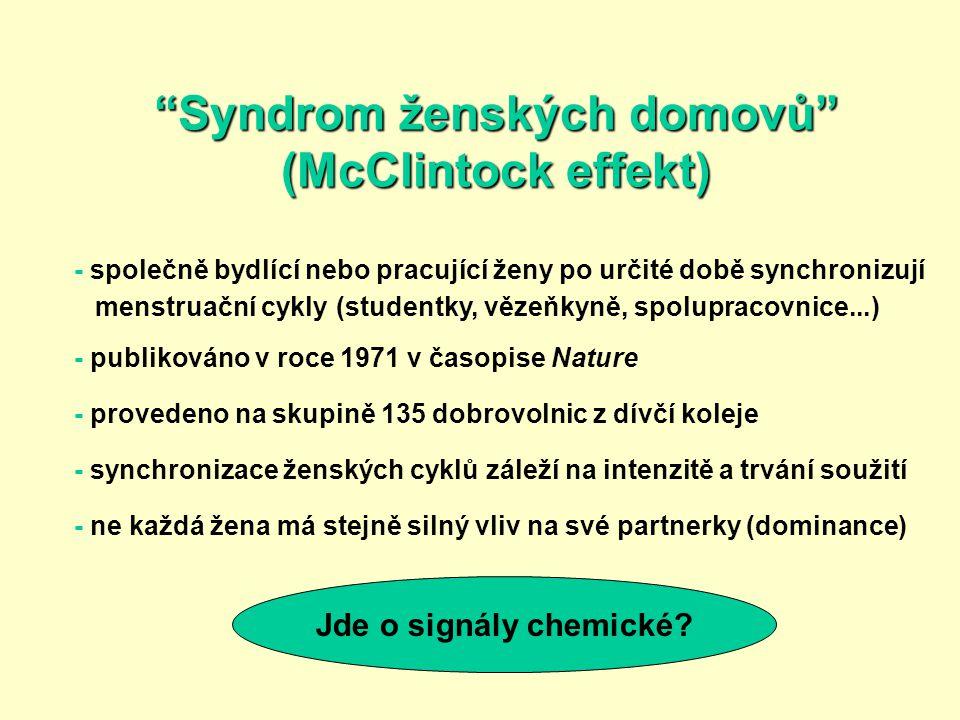 """""""Syndrom ženských domovů"""" (McClintock effekt) - společně bydlící nebo pracující ženy po určité době synchronizují menstruační cykly (studentky, vězeňk"""
