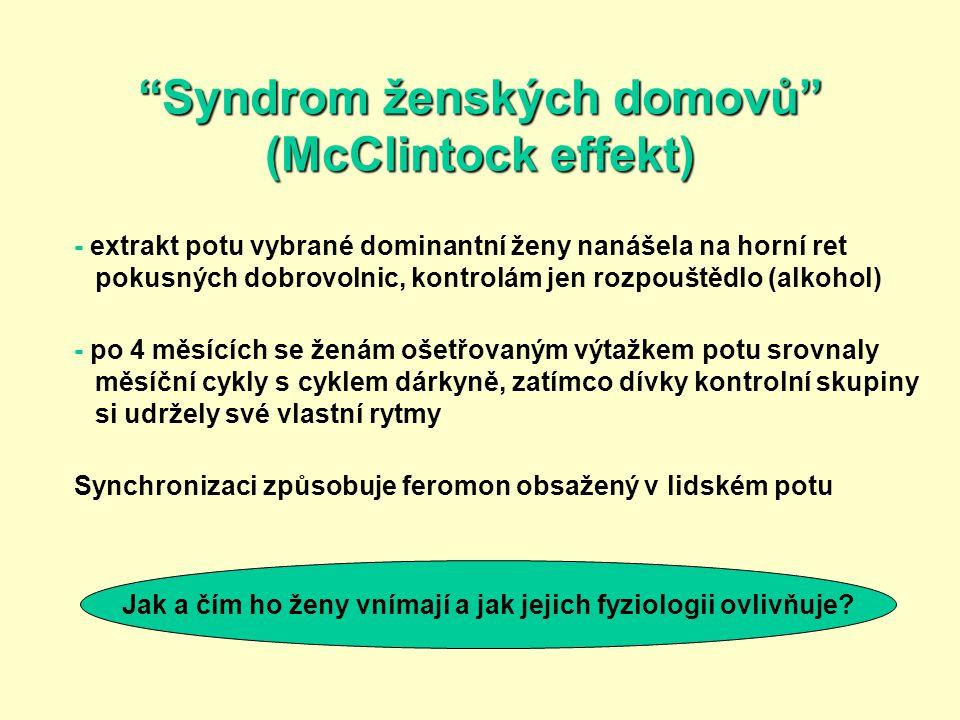 """""""Syndrom ženských domovů"""" (McClintock effekt) - extrakt potu vybrané dominantní ženy nanášela na horní ret pokusných dobrovolnic, kontrolám jen rozpou"""
