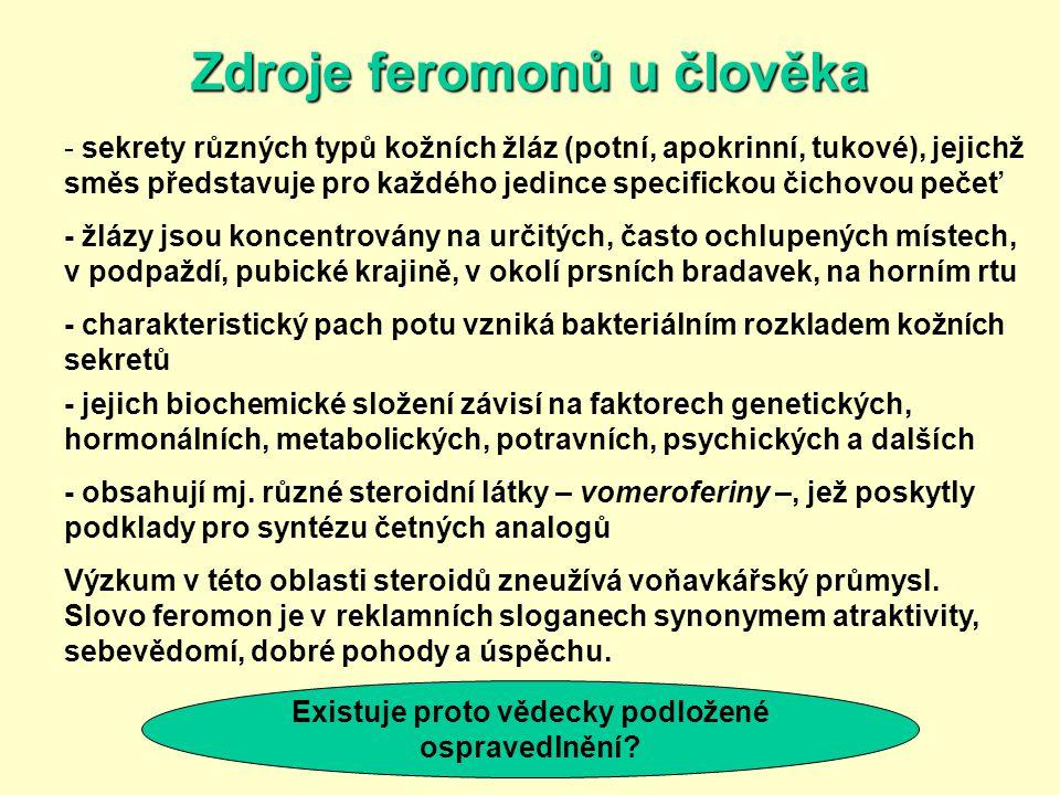 Zdroje feromonů u člověka - sekrety různých typů kožních žláz (potní, apokrinní, tukové), jejichž směs představuje pro každého jedince specifickou čic