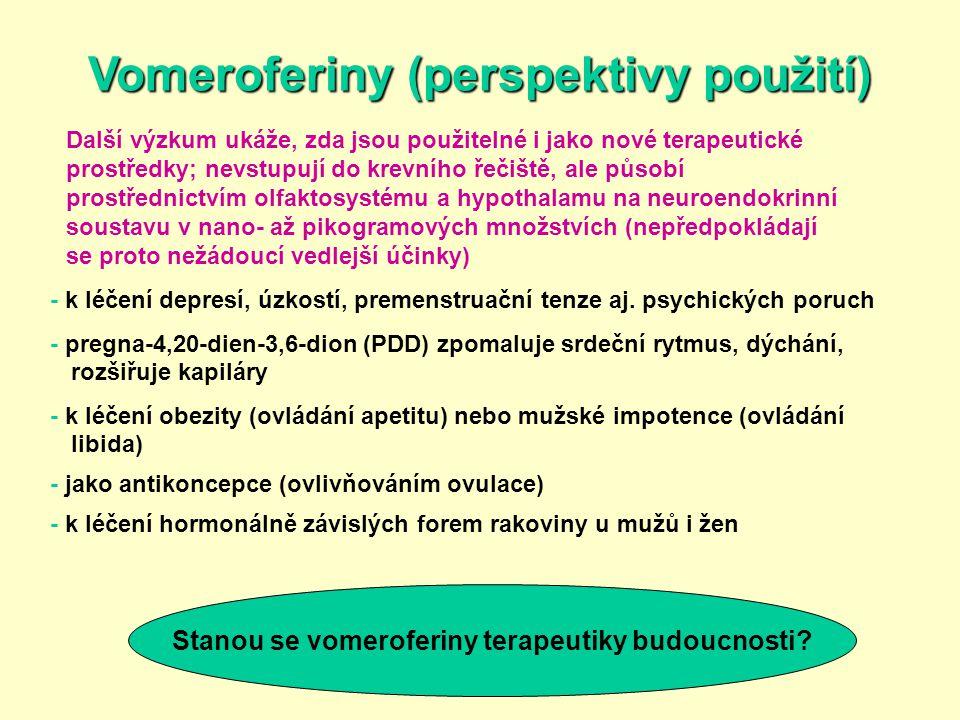 Vomeroferiny (perspektivy použití) Další výzkum ukáže, zda jsou použitelné i jako nové terapeutické prostředky; nevstupují do krevního řečiště, ale pů