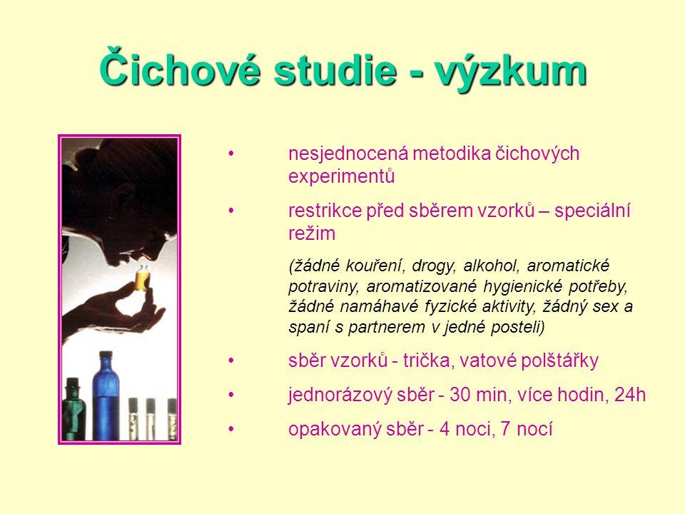 •nesjednocená metodika čichových experimentů •restrikce před sběrem vzorků – speciální režim (žádné kouření, drogy, alkohol, aromatické potraviny, aro