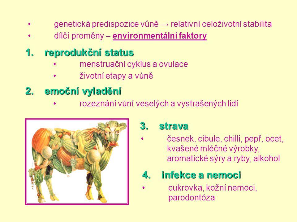 •genetická predispozice vůně → relativní celoživotní stabilita •dílčí proměny – environmentální faktory •menstruační cyklus a ovulace •životní etapy a