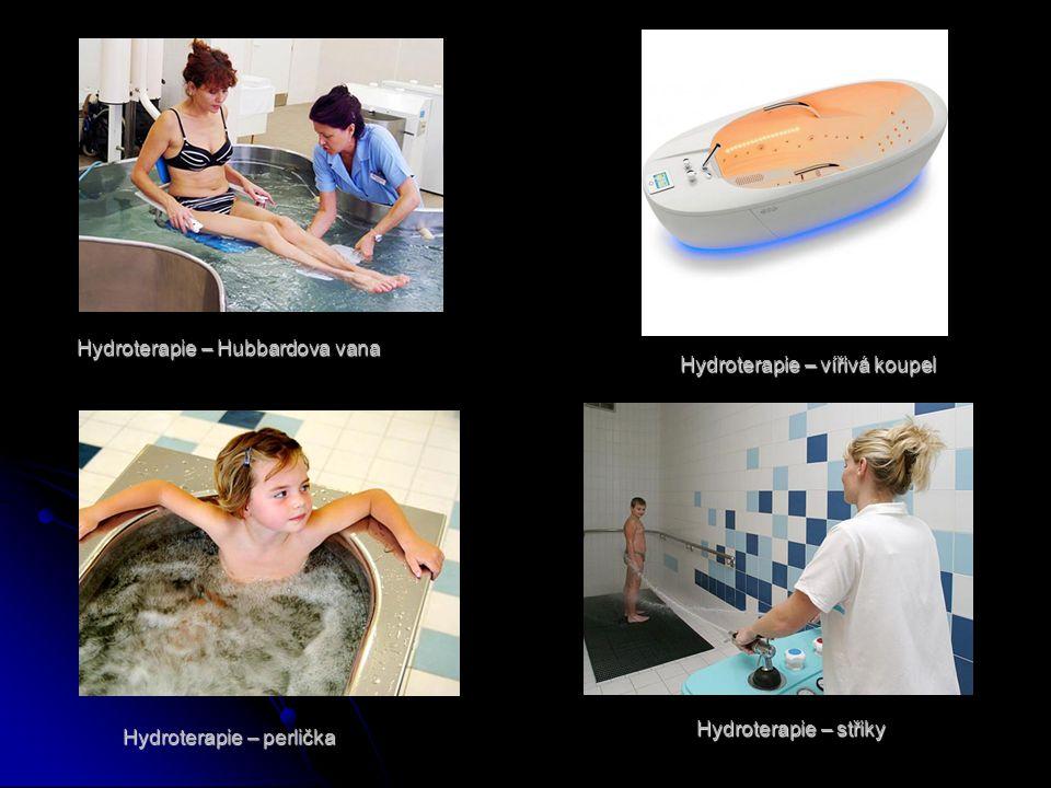 Hydroterapie – Hubbardova vana Hydroterapie – vířivá koupel Hydroterapie – perlička Hydroterapie – střiky