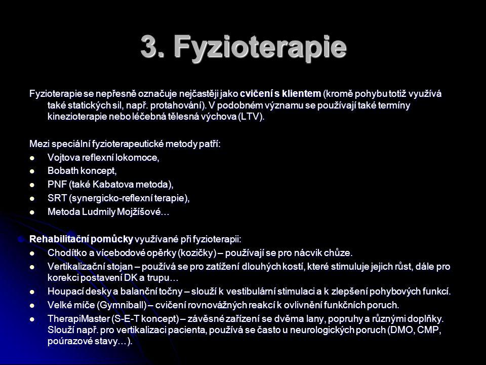 3. Fyzioterapie Fyzioterapie se nepřesně označuje nejčastěji jako cvičení s klientem (kromě pohybu totiž využívá také statických sil, např. protahován