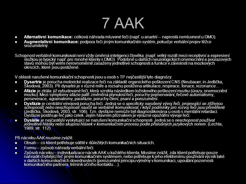 7 AAK   Alternativní komunikace: celková náhrada mluvené řeči (např.