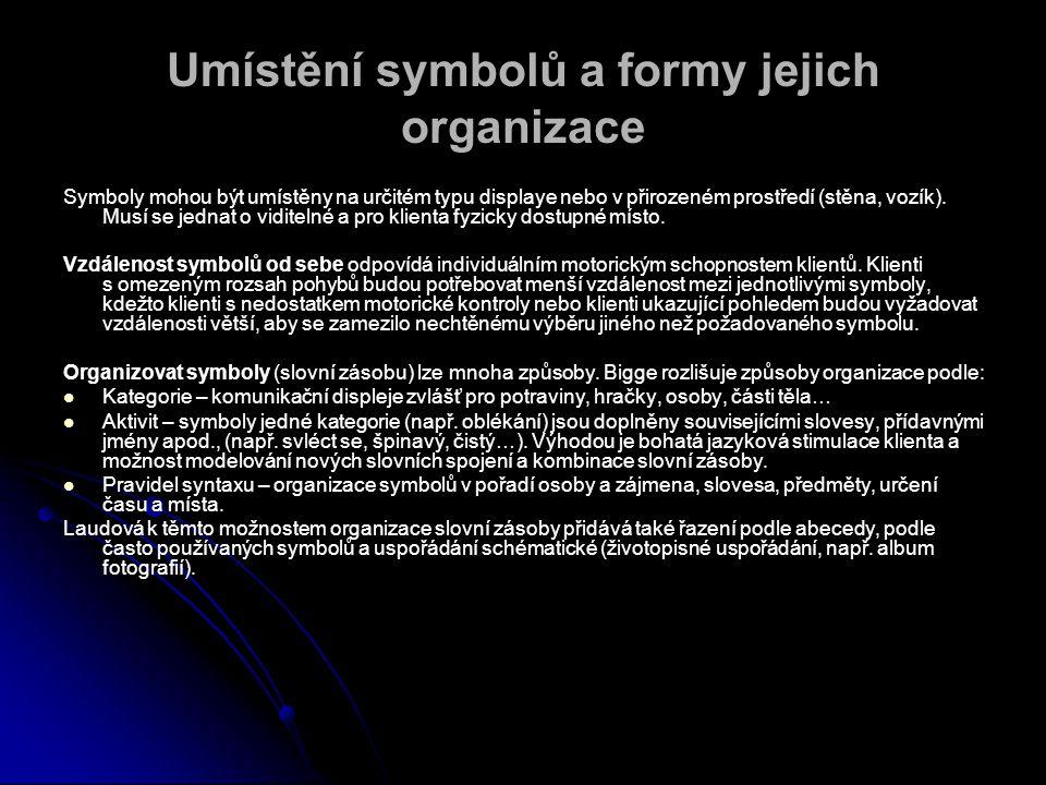Umístění symbolů a formy jejich organizace Symboly mohou být umístěny na určitém typu displaye nebo v přirozeném prostředí (stěna, vozík).