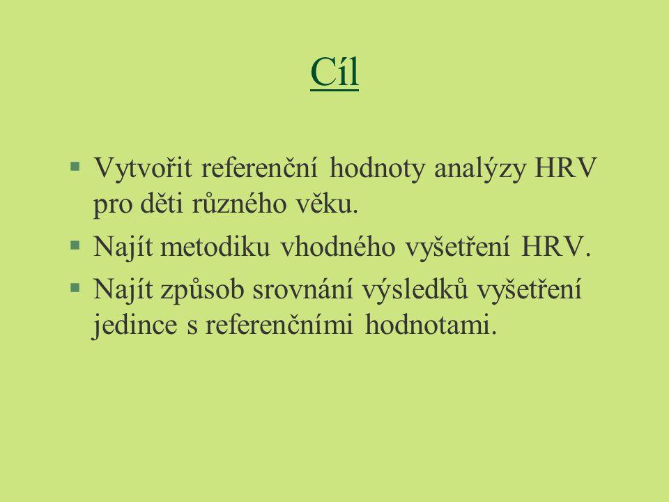 Cíl §Vytvořit referenční hodnoty analýzy HRV pro děti různého věku. §Najít metodiku vhodného vyšetření HRV. §Najít způsob srovnání výsledků vyšetření