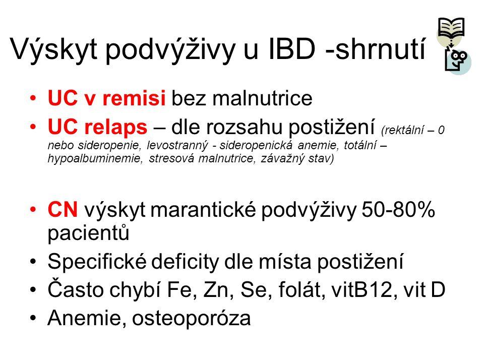 Výskyt podvýživy u IBD -shrnutí •UC v remisi bez malnutrice •UC relaps – dle rozsahu postižení (rektální – 0 nebo sideropenie, levostranný - sideropen