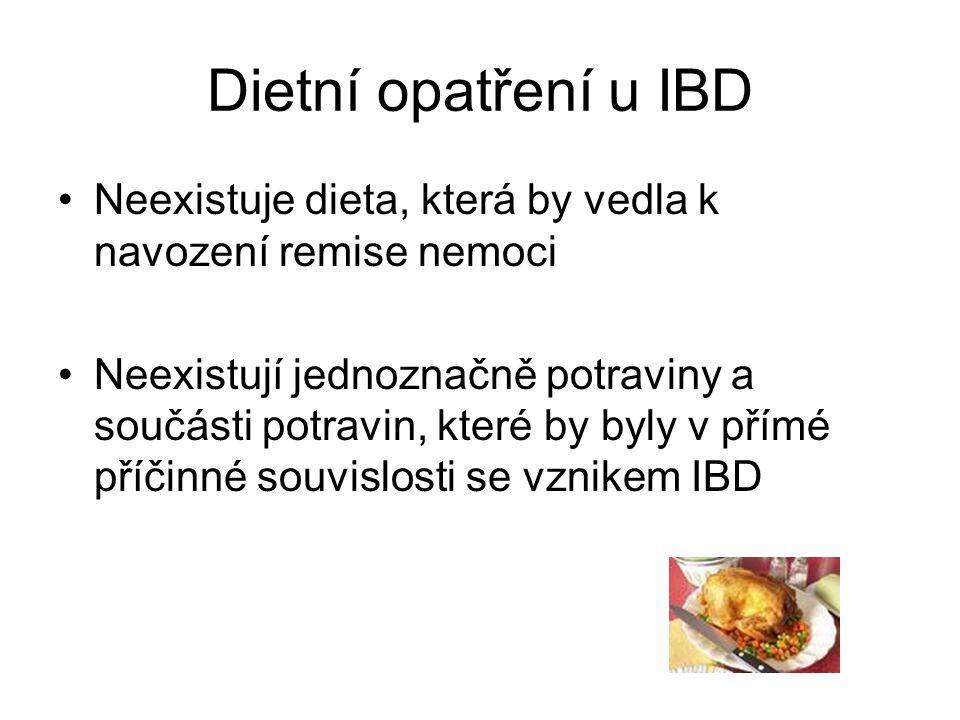 Dietní opatření u IBD •Neexistuje dieta, která by vedla k navození remise nemoci •Neexistují jednoznačně potraviny a součásti potravin, které by byly