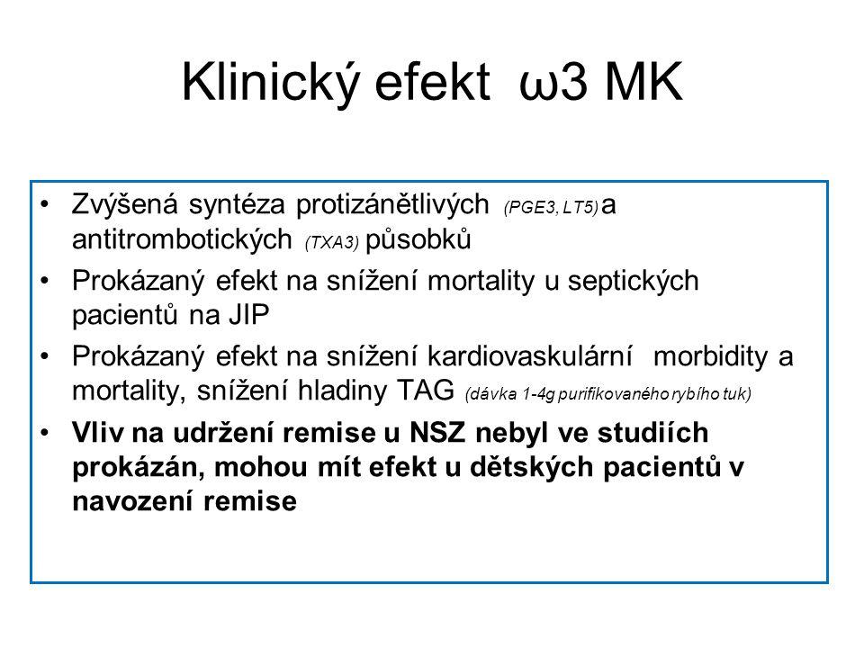 Klinický efekt ω3 MK •Zvýšená syntéza protizánětlivých (PGE3, LT5) a antitrombotických (TXA3) působků •Prokázaný efekt na snížení mortality u septických pacientů na JIP •Prokázaný efekt na snížení kardiovaskulární morbidity a mortality, snížení hladiny TAG (dávka 1-4g purifikovaného rybího tuk) •Vliv na udržení remise u NSZ nebyl ve studiích prokázán, mohou mít efekt u dětských pacientů v navození remise