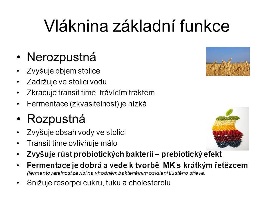 Vláknina základní funkce •Nerozpustná •Zvyšuje objem stolice •Zadržuje ve stolici vodu •Zkracuje transit time trávícím traktem •Fermentace (zkvasitelnost) je nízká •Rozpustná •Zvyšuje obsah vody ve stolici •Transit time ovlivňuje málo •Zvyšuje růst probiotických bakterií – prebiotický efekt •Fermentace je dobrá a vede k tvorbě MK s krátkým řetězcem (fermentovatelnost závisí na vhodném bakteriálním osídlení tlustého střeva) •Snižuje resorpci cukru, tuku a cholesterolu