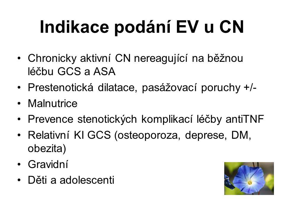 Indikace podání EV u CN •Chronicky aktivní CN nereagující na běžnou léčbu GCS a ASA •Prestenotická dilatace, pasážovací poruchy +/- •Malnutrice •Preve