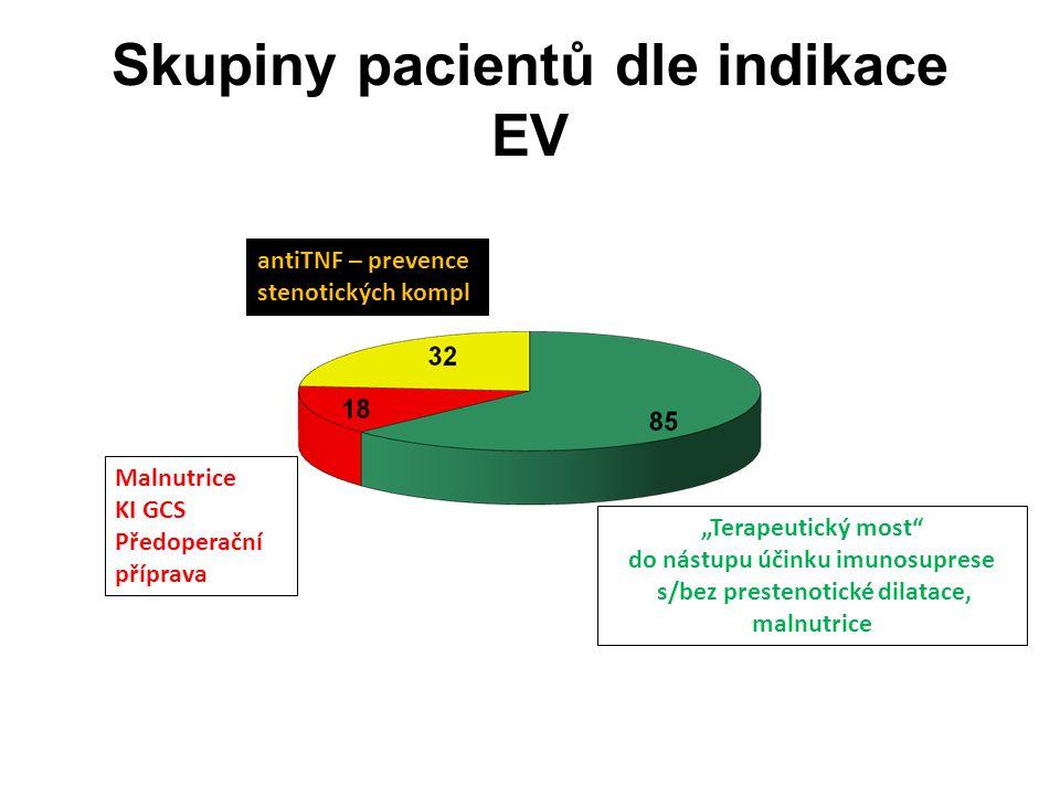 """Skupiny pacientů dle indikace EV """"Terapeutický most"""" do nástupu účinku imunosuprese s/bez prestenotické dilatace, malnutrice antiTNF – prevence stenot"""