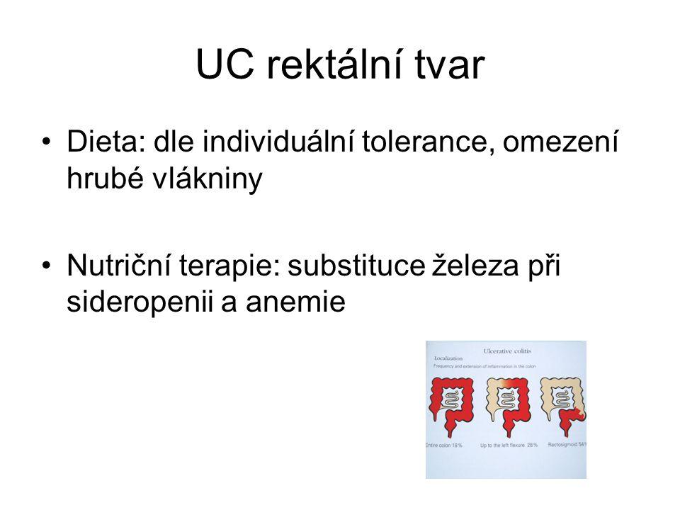 UC rektální tvar •Dieta: dle individuální tolerance, omezení hrubé vlákniny •Nutriční terapie: substituce železa při sideropenii a anemie