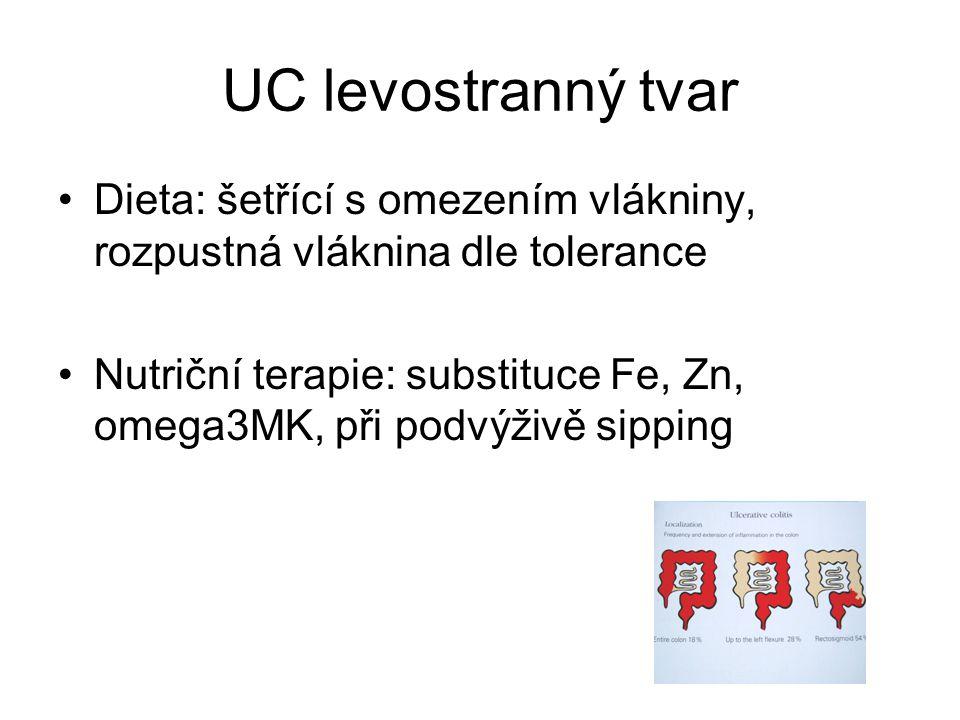 UC levostranný tvar •Dieta: šetřící s omezením vlákniny, rozpustná vláknina dle tolerance •Nutriční terapie: substituce Fe, Zn, omega3MK, při podvýživě sipping