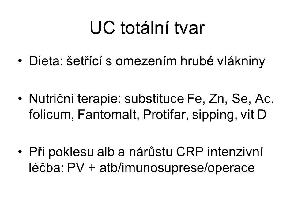 UC totální tvar •Dieta: šetřící s omezením hrubé vlákniny •Nutriční terapie: substituce Fe, Zn, Se, Ac. folicum, Fantomalt, Protifar, sipping, vit D •