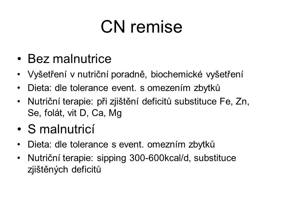 CN remise •Bez malnutrice •Vyšetření v nutriční poradně, biochemické vyšetření •Dieta: dle tolerance event. s omezením zbytků •Nutriční terapie: při z