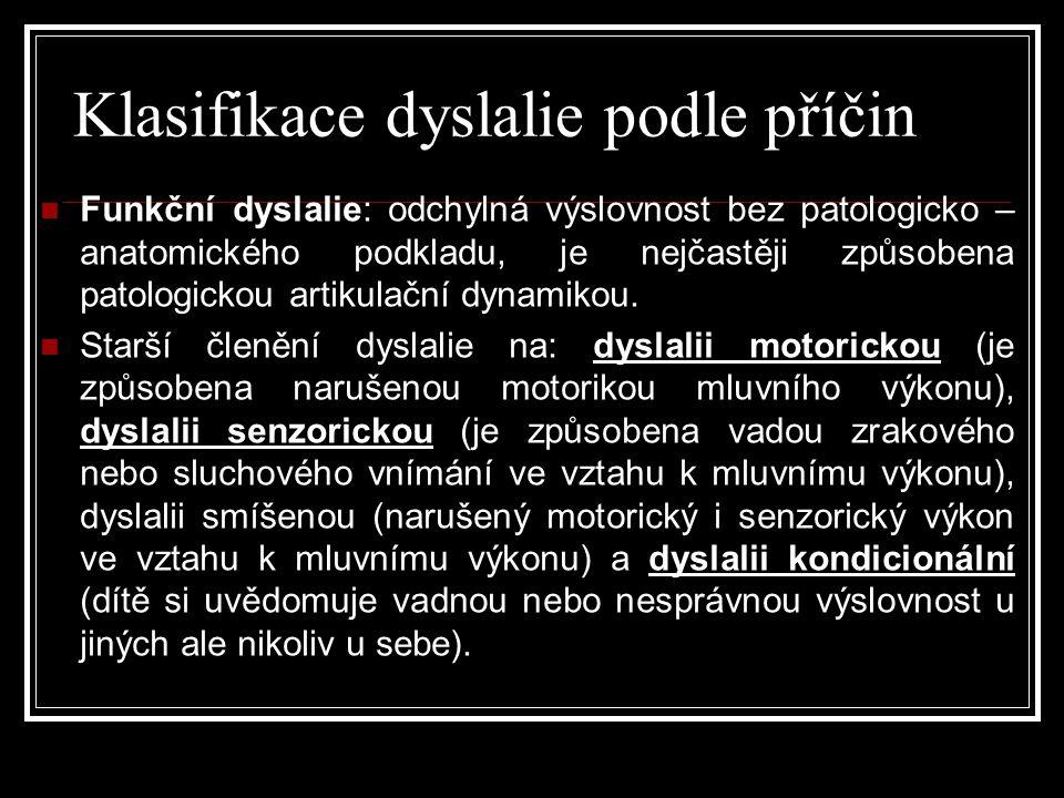 Klasifikace dyslalie podle příčin  Funkční dyslalie: odchylná výslovnost bez patologicko – anatomického podkladu, je nejčastěji způsobena patologickou artikulační dynamikou.
