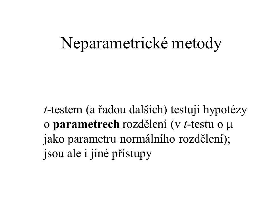 Neparametrické metody t-testem (a řadou dalších) testuji hypotézy o parametrech rozdělení (v t-testu o μ jako parametru normálního rozdělení); jsou al