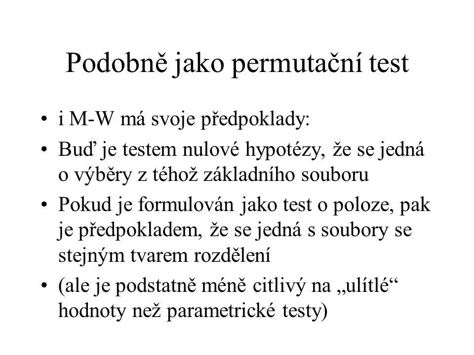 Podobně jako permutační test •i M-W má svoje předpoklady: •Buď je testem nulové hypotézy, že se jedná o výběry z téhož základního souboru •Pokud je fo