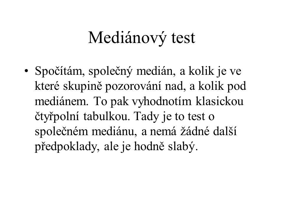 Mediánový test •Spočítám, společný medián, a kolik je ve které skupině pozorování nad, a kolik pod mediánem. To pak vyhodnotím klasickou čtyřpolní tab
