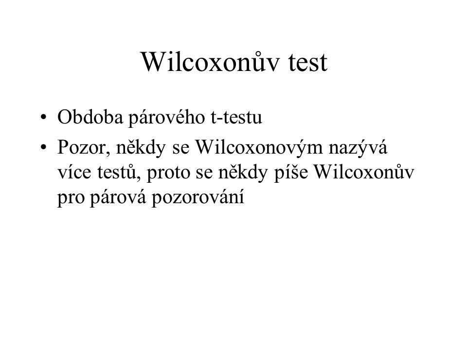 Wilcoxonův test •Obdoba párového t-testu •Pozor, někdy se Wilcoxonovým nazývá více testů, proto se někdy píše Wilcoxonův pro párová pozorování