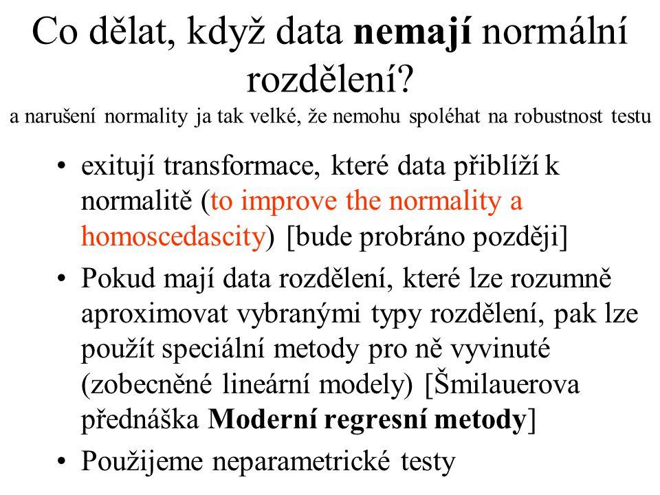 Co dělat, když data nemají normální rozdělení? a narušení normality ja tak velké, že nemohu spoléhat na robustnost testu •exitují transformace, které