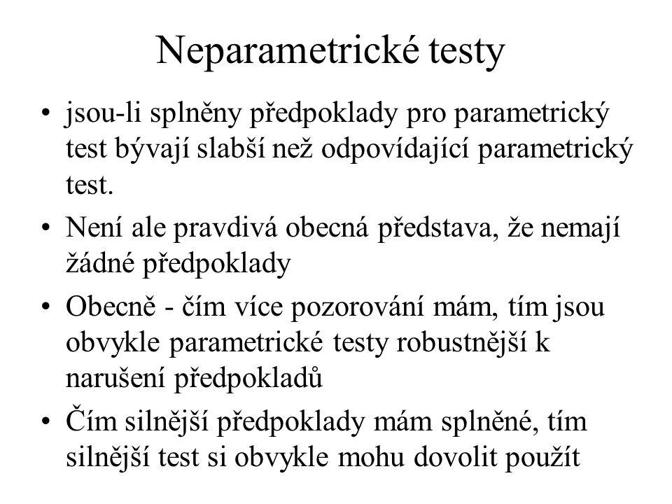 Neparametrické testy •jsou-li splněny předpoklady pro parametrický test bývají slabší než odpovídající parametrický test. •Není ale pravdivá obecná př