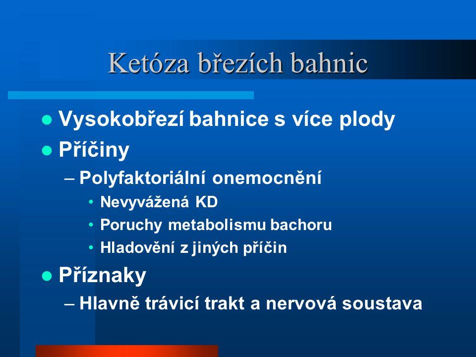 Ketóza březích bahnic  Vysokobřezí bahnice s více plody  Příčiny –Polyfaktoriální onemocnění •Nevyvážená KD •Poruchy metabolismu bachoru •Hladovění